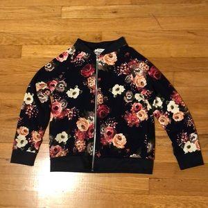 Girls lightweight floral bomber jacket size 12